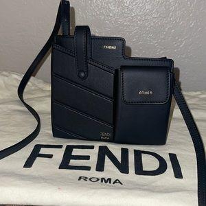 Authentic Fendi Roma black leather phone pouch